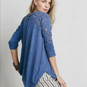 Free People Jennie tee tunic boho lace ties blue S